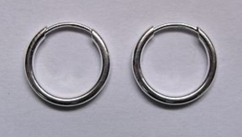 1 1cm wide sterling silver 1 5mm thick tubular sleeper hoop earrings