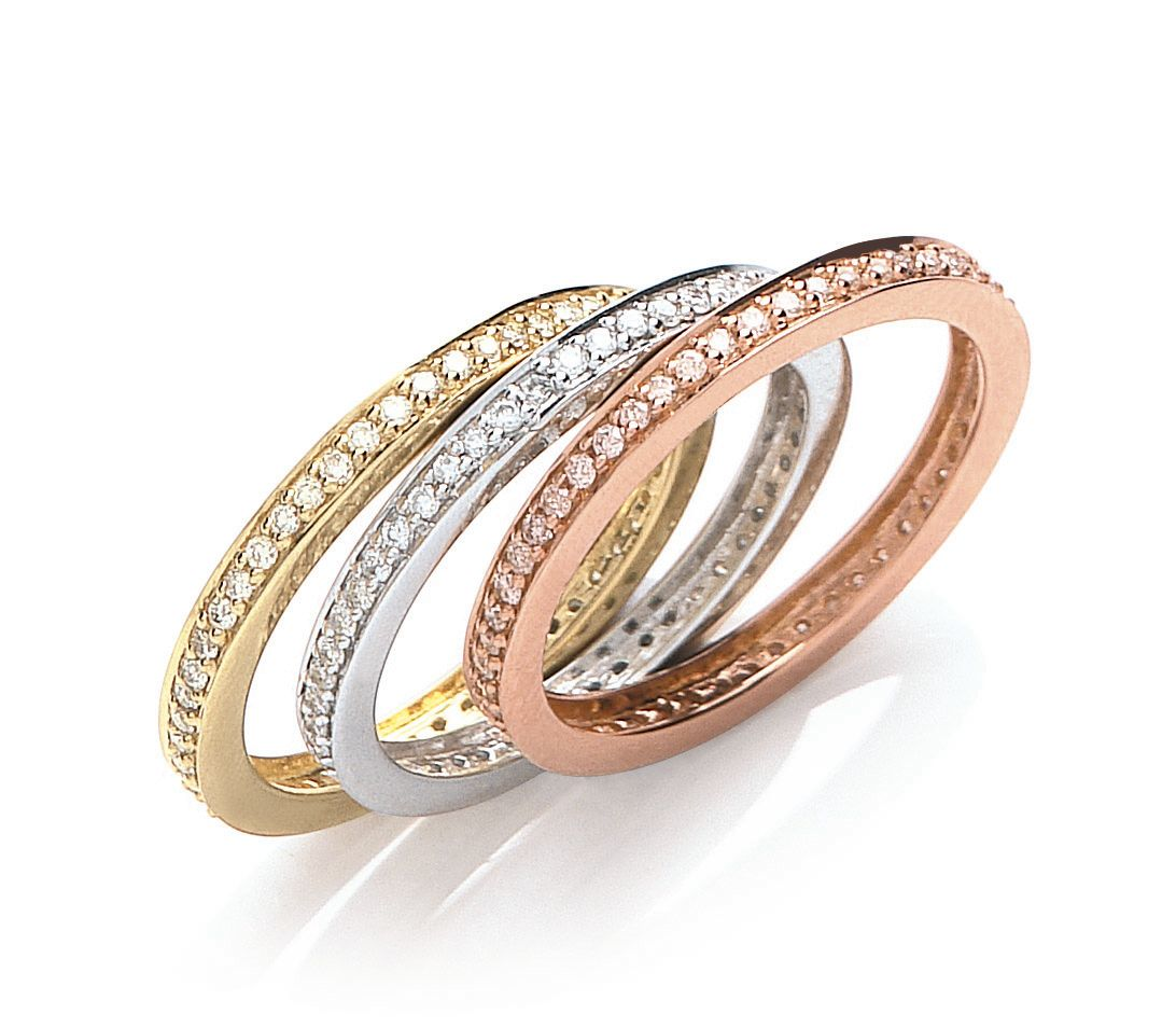 18ct three colour gold 068ct diamond eternity ring set