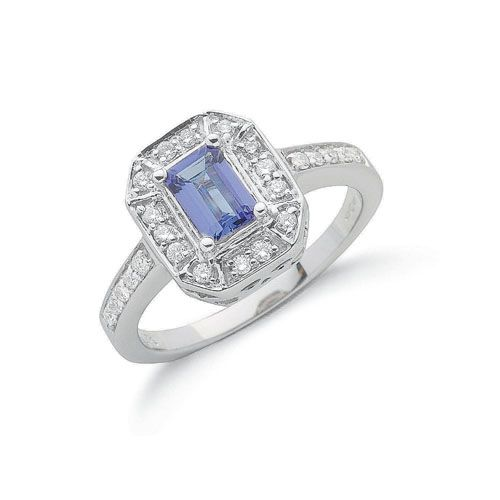 diamond white ring gold stone emerald cut and side tanzanite
