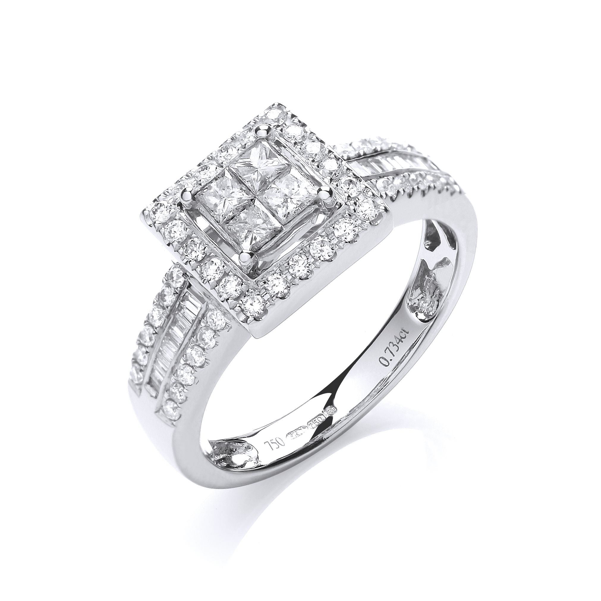 princess size asp gold white k stone cut wedding p and shoulders ring diamond four baguette rings centre