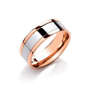 8mm 9ct Flat Court Two Colour with Parallel Groove Wedding Band