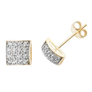 stud diamond shaped p square ye earrings gold
