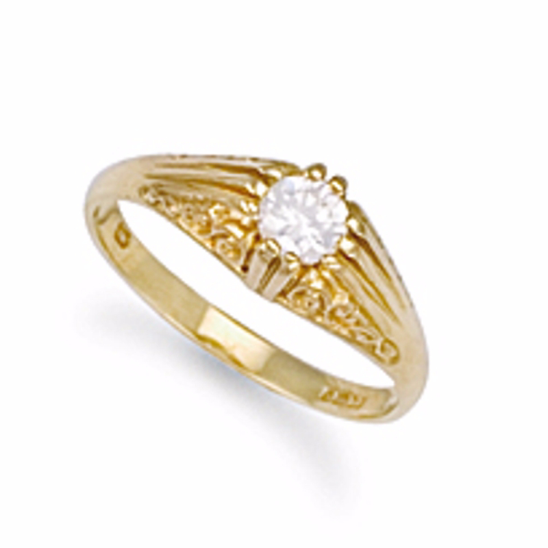 9ct Gold Gents Single stone Cubic Zirconia Ring 3g
