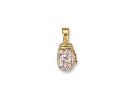 9ct gold large cubic zirconia boxing glove pendant 8g aloadofball Images