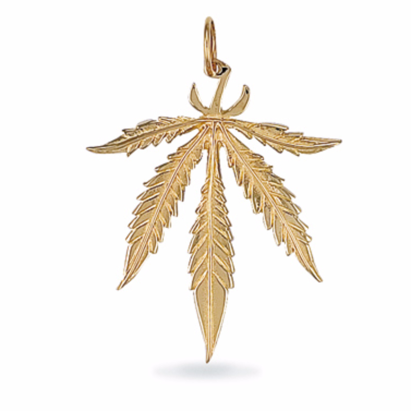 9ct gold large ganja leaf cannabis pendant 56g mozeypictures Gallery