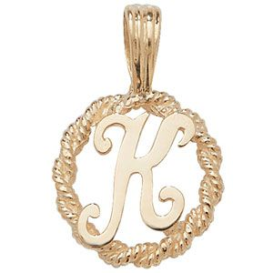 9ct gold round rope edged initial letter k pendant 08g aloadofball Image collections