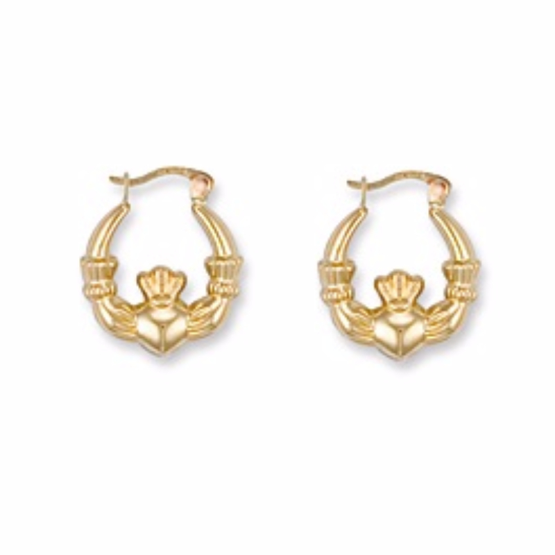 9Ct Gold Small Claddagh Creole Earrings