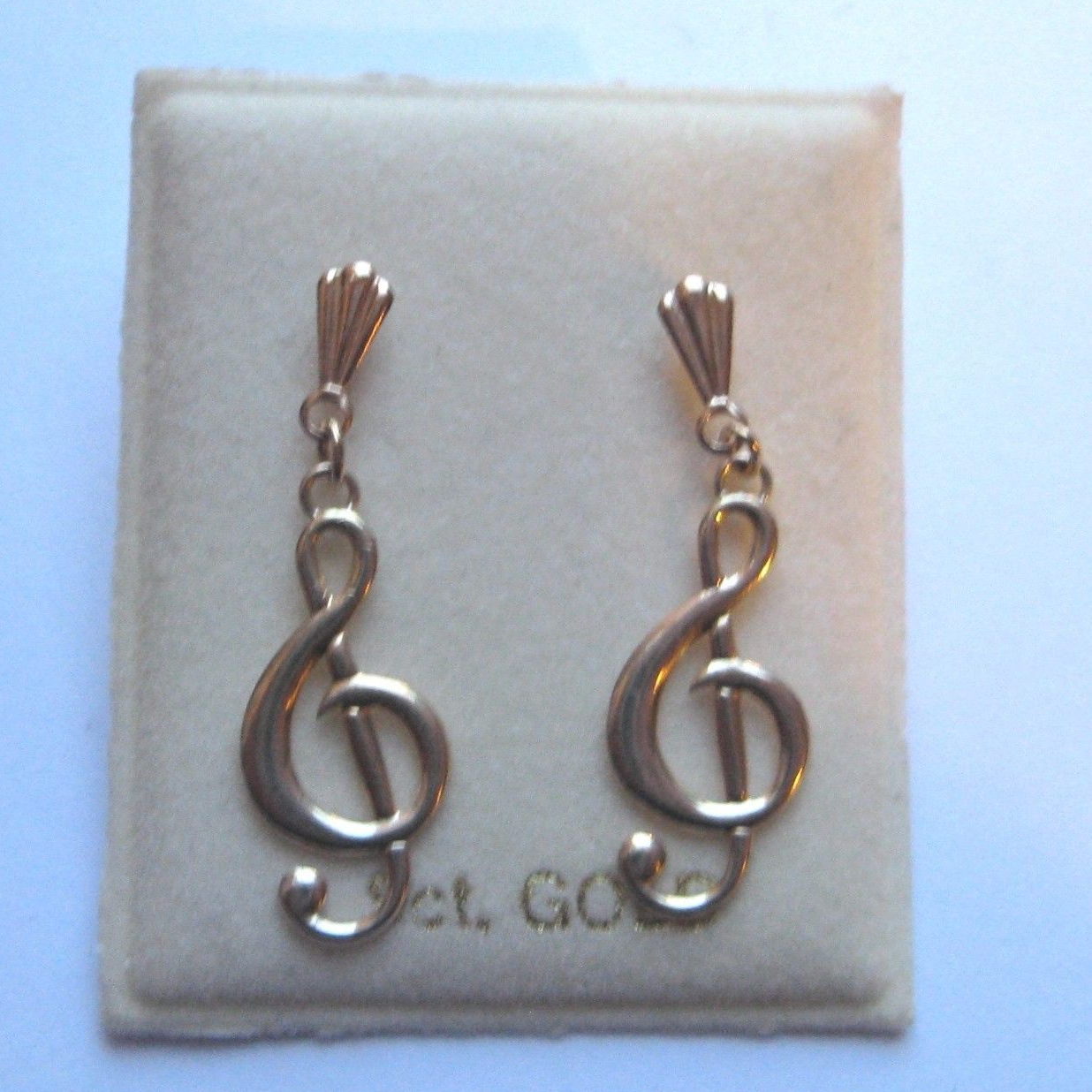 9ct Gold Treble Clef Stud Earrings wT3prnh