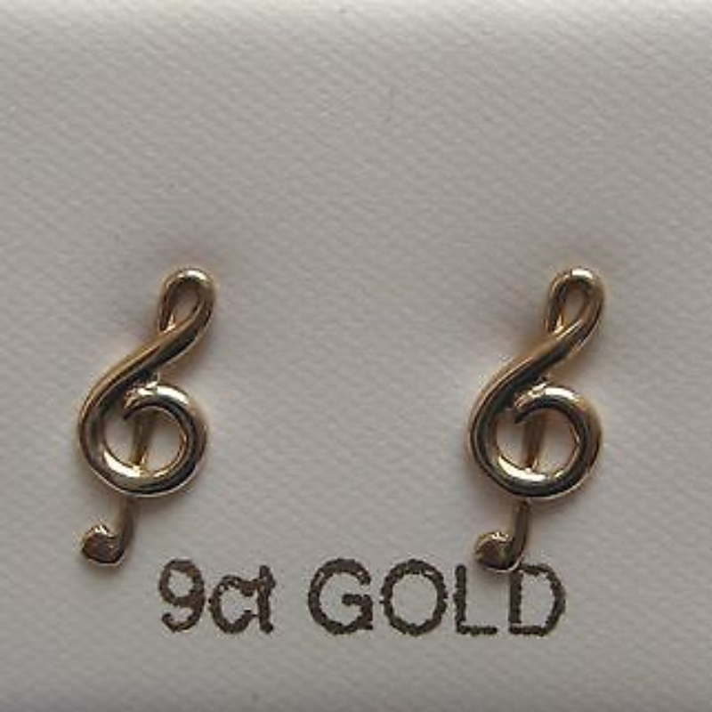 9ct Gold Treble Clef Stud Earrings