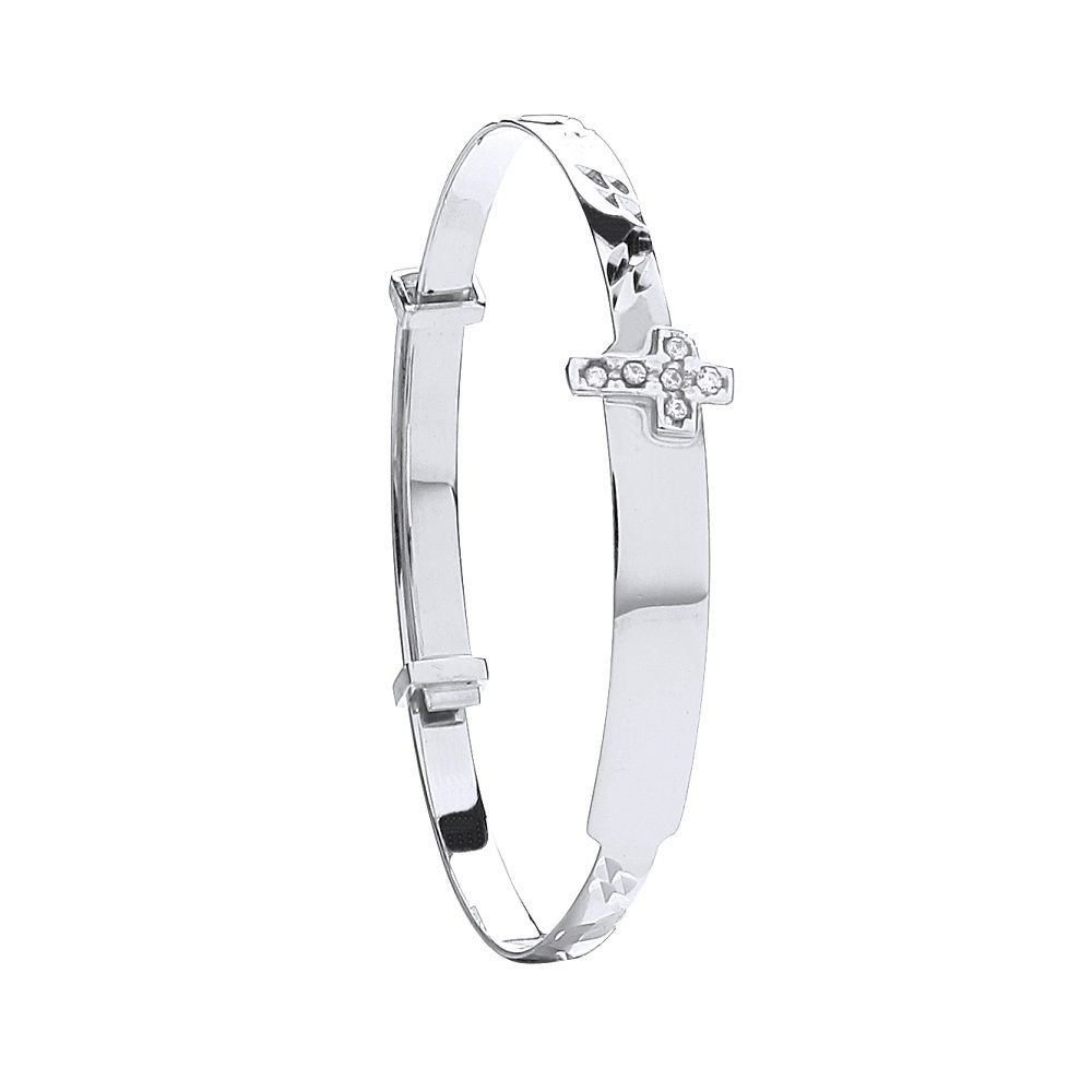 9ct White Gold Cubic Zirconia Diamond Cut Expandable Id Cross Baby Bangle 3g