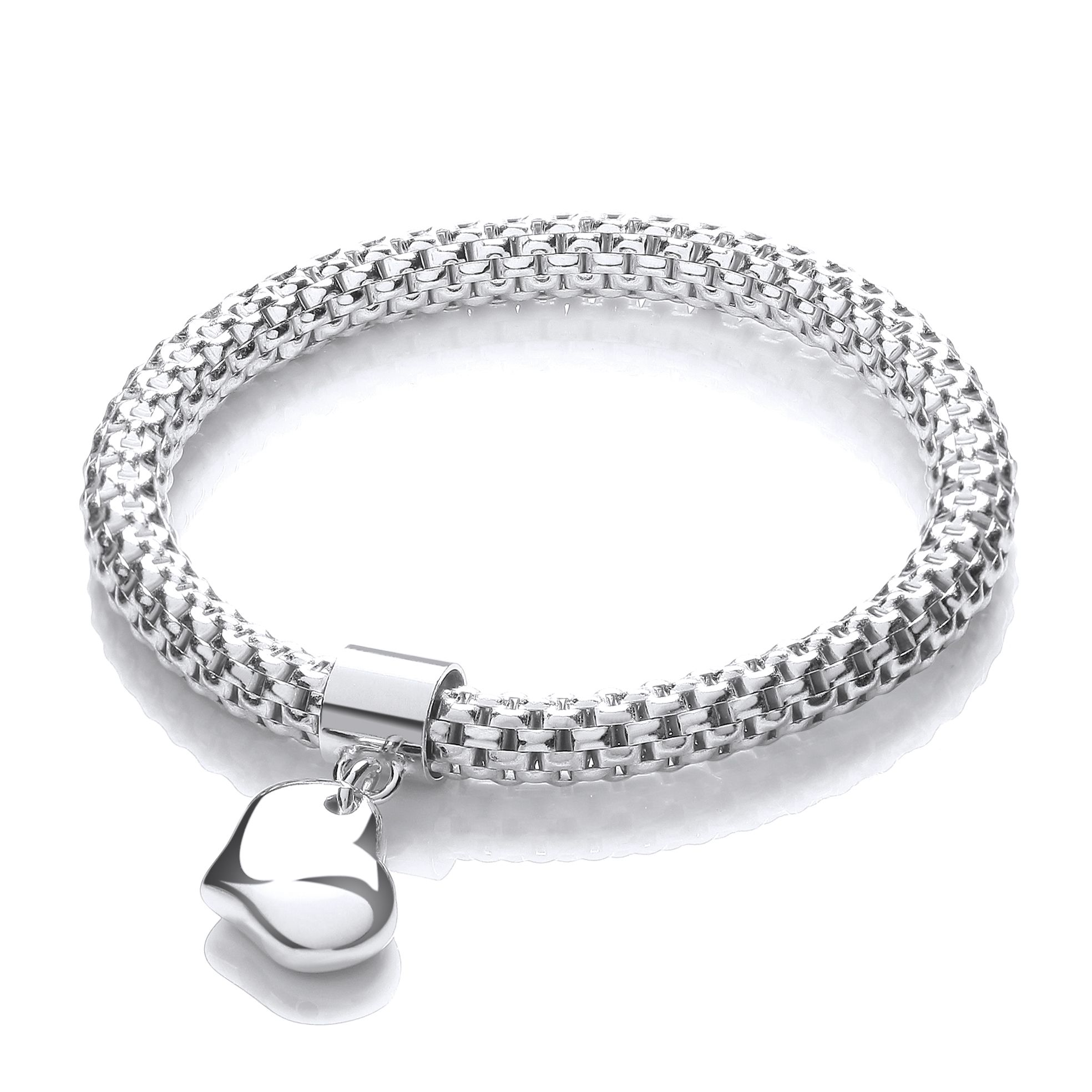 bangle heart link bangles asp silver double fastening school p seven inch bracelets charm sterling lock with uk