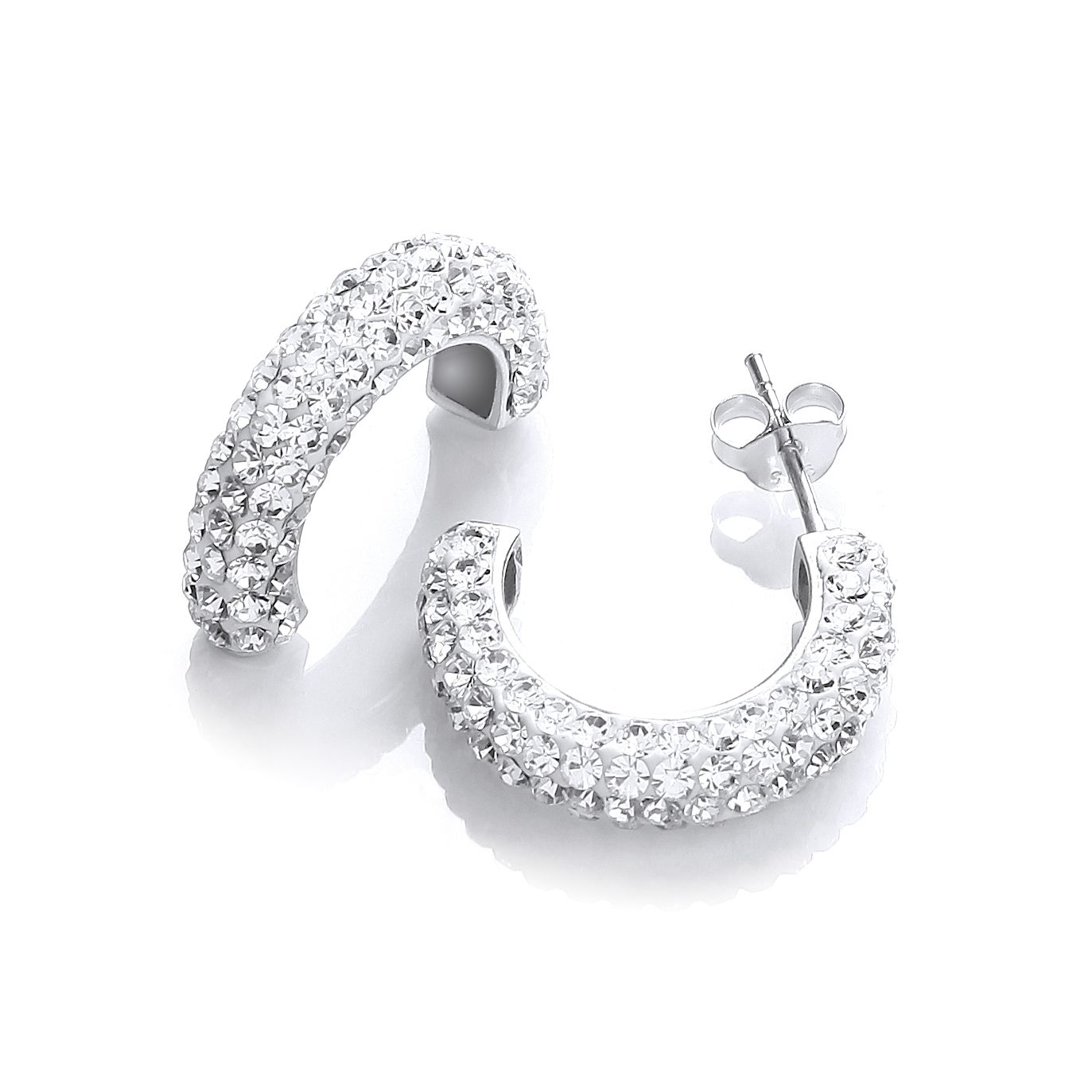 rhodium clear bella mini white with swarovski crystal plate earrings