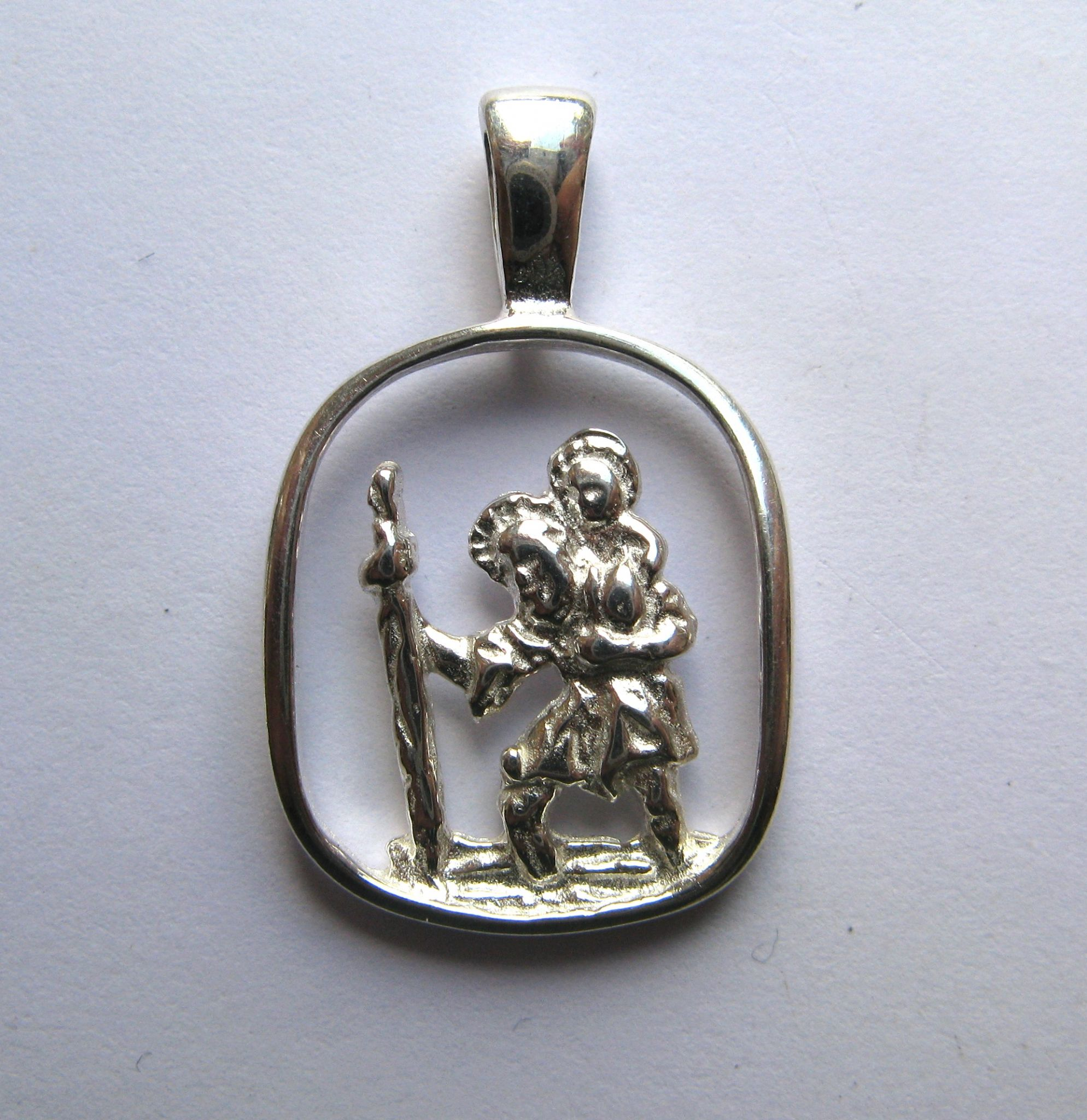 Sterling silver cut out oblong st christopher pendant 173g mozeypictures Image collections