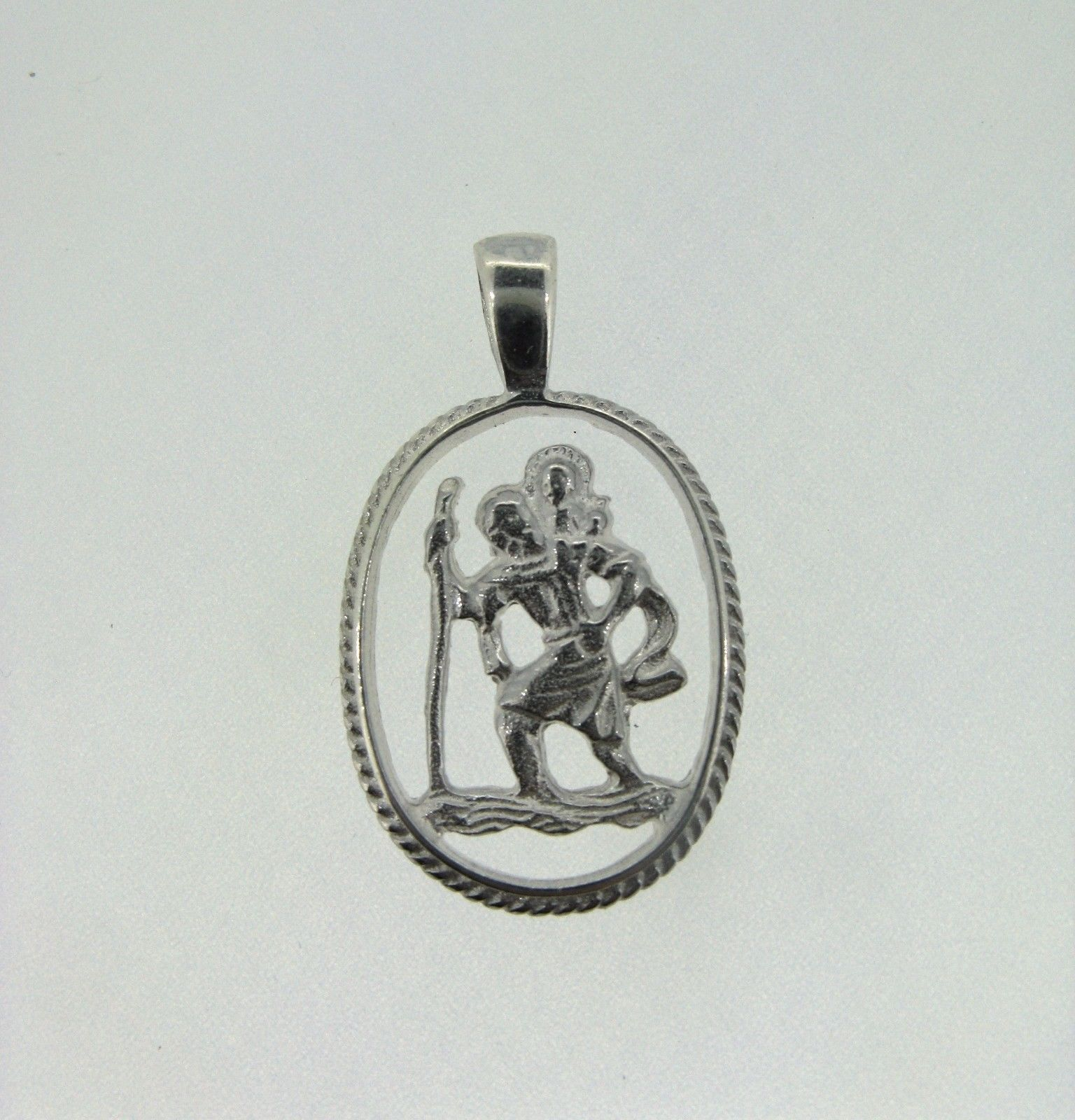Sterling silver cut out st christopher pendant with rope edges 165g mozeypictures Image collections