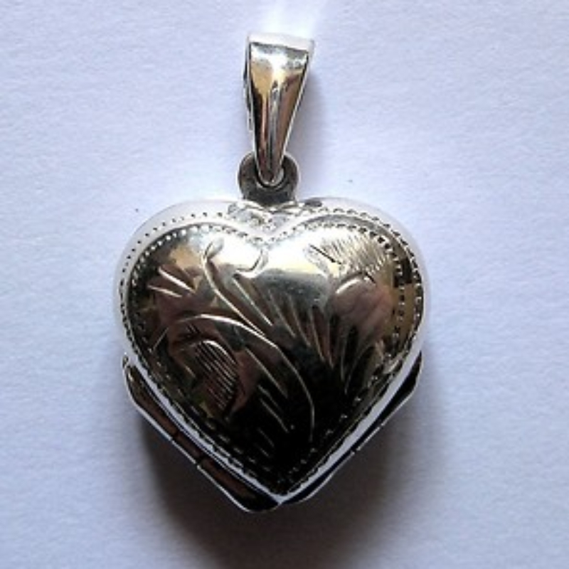 heart family engraved locket silver shaped lockets