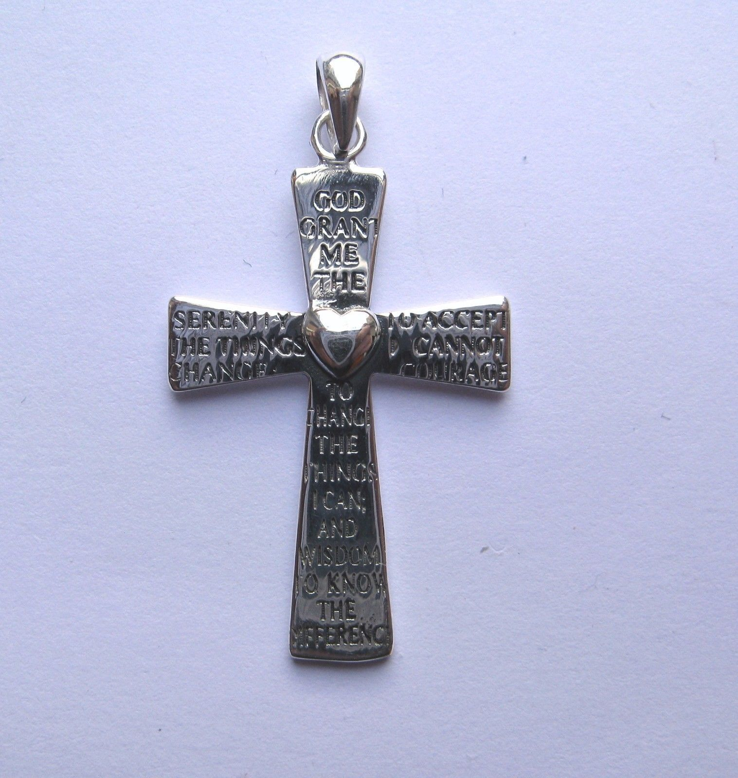 Sterling silver serenity prayer cross pendant mozeypictures Images