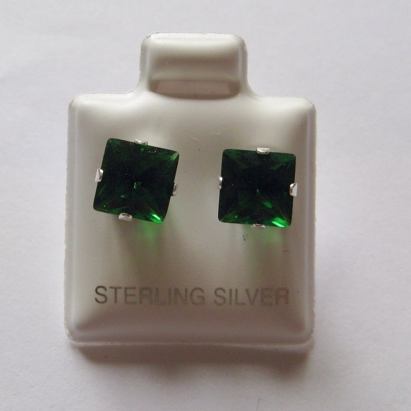 7c34d3552e9b4 7mm square Princess cut Emerald Cubic Zirconia Sterling silver Stud earrings