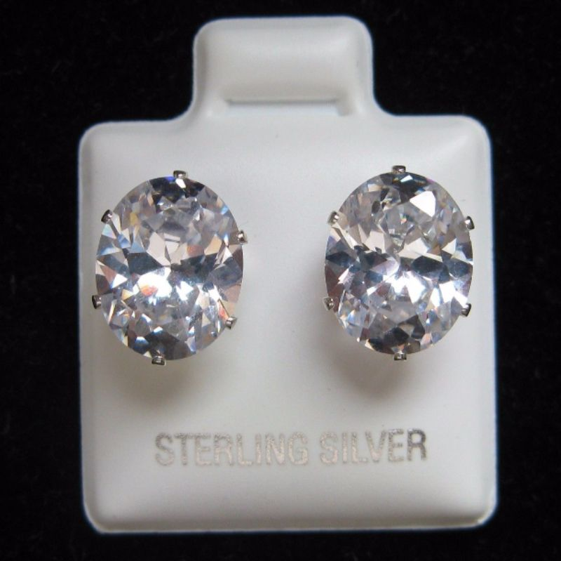 187c53b16 8mm x 10mm Oval Cubic Zirconia Sterling Silver Stud Earrings. variant  attributes variant attributes variant attributes variant attributes. Brand:  Unbranded