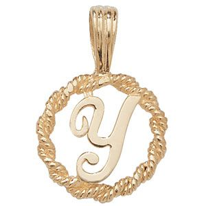e5a00d81b6939 9ct Gold Round rope edged Initial letter Y pendant 0.8g