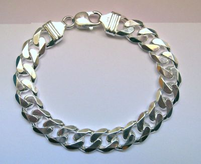 Gents 8 11mm Thick Sterling Silver Curb Bracelet