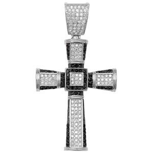 0f63304d7 Large Sterling Silver Black and clear Cubic Zirconia cross Pendant 37g
