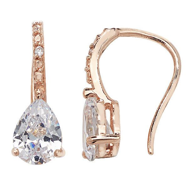 4cde154e56a28 Rose gold plated Sterling silver Cubic zirconia hook in drop earrings