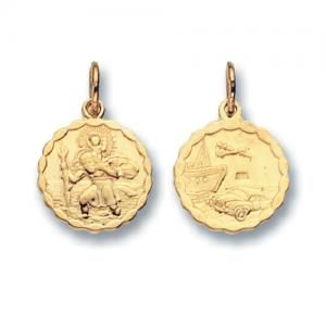 Small 9ct Gold Round Double Sided St Christopher Pendant With Scalloped Edges 2g