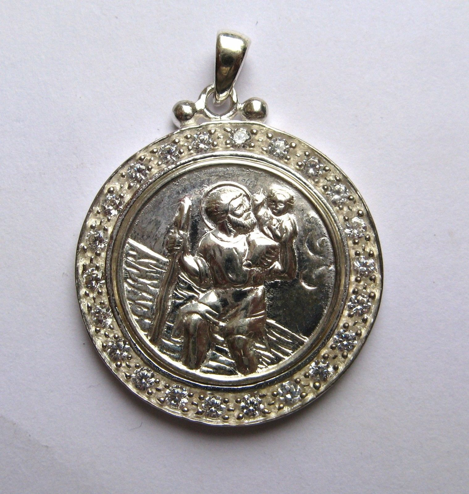 Sterling silver cubic zirconia round st christopher pendant 53g mozeypictures Gallery