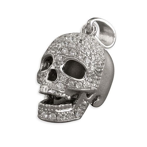 Sterling silver cubic zirconia skull pendant 37g mozeypictures Image collections
