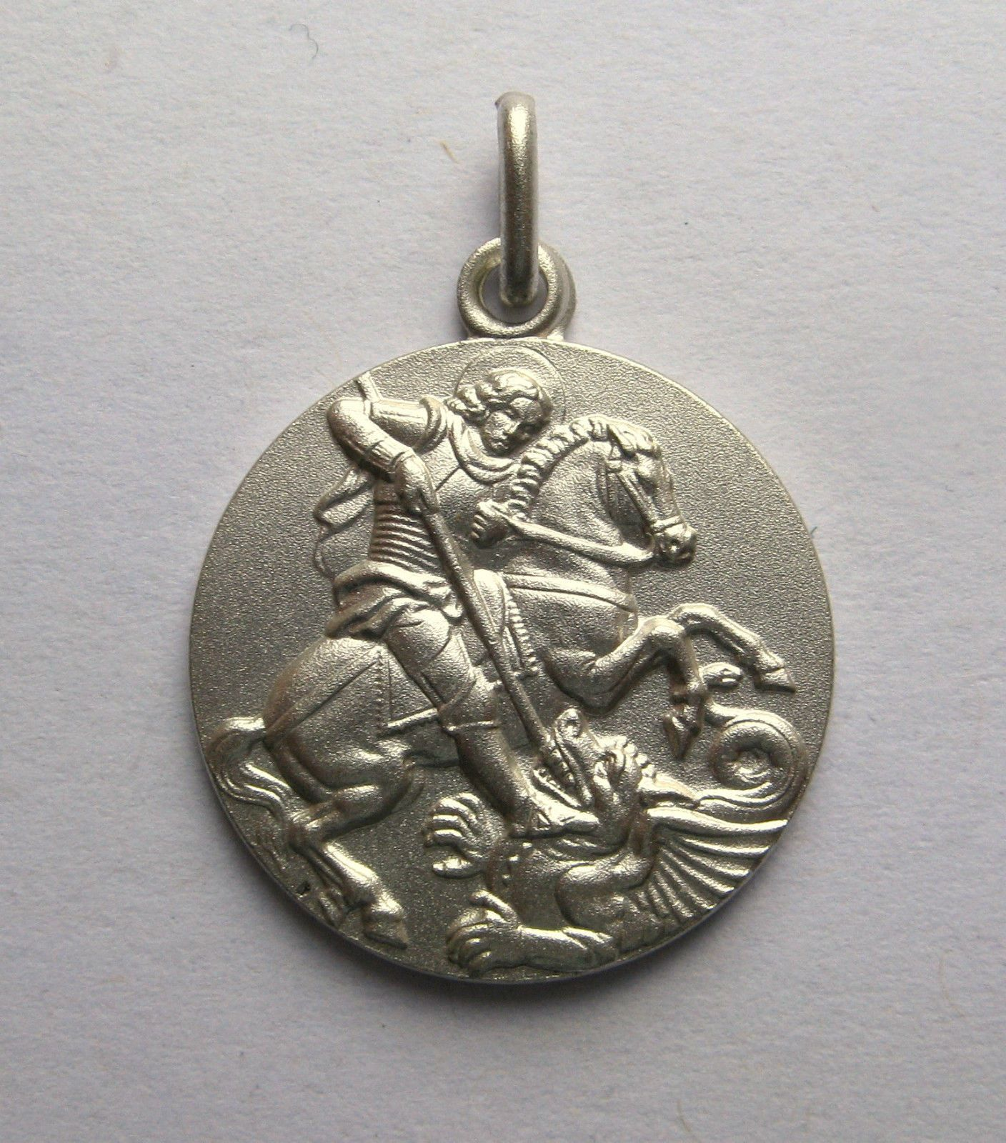 Sterling silver double sided st george pendant 41g aloadofball Image collections