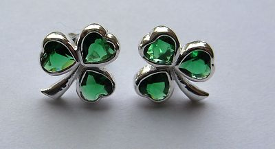 fc583d2c098b7 Sterling silver Emerald Cubic Zirconia Shamrock stud earrings