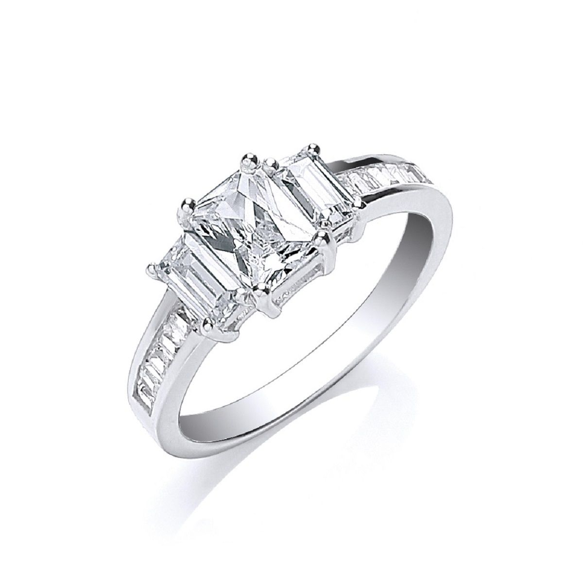 e81e0fa84 Sterling silver Emerald cut Cubic Zirconia trilogy ring with baguette ...