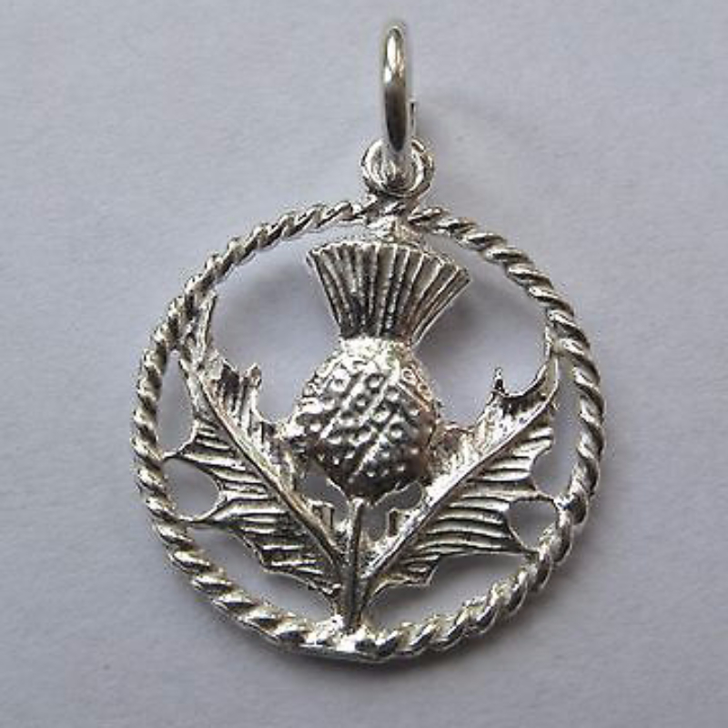 Sterling silver scottish thistle in circle charm aloadofball Image collections